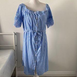 💙 Blue Gingham Off the Shoulder Dress Size Large